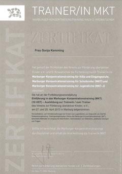 Zertifikat Sonja Kemming