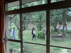 こちら梅の実収穫の人たち。蚊との戦いです。