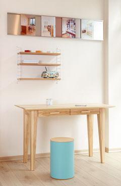 buchenblau Schreibtisch nach Maß und Hocker