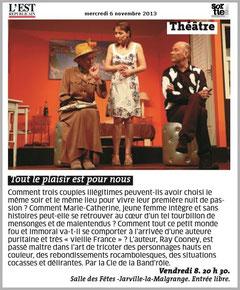 TOUT LE PLAISIR EST POUR NOUS ! - compagnie LA BAN D'RÔLE - représentation à 54140 JARVILLE-LA-MALGRANGE
