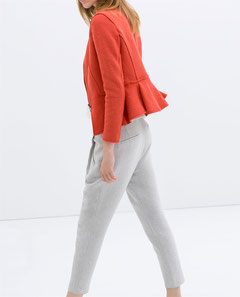 Zara orange wool peplum jacket