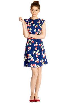 Oasis tulip print belted dress