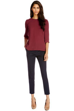 Oasis burgundy woven top
