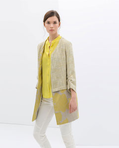 Zara yellow and taupe patterned coat