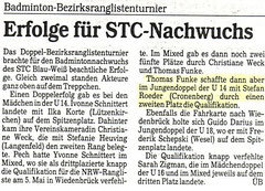 Solinger Tageblatt von 04.1991 Bezirks-Ranglistenturnier Jugend Doppel