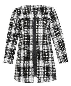 Tweed-Mantel mit gewebten Karomuster schwarz weiß für mollige Frauen