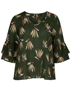 Bluse mit Muster oliv  Größe 56