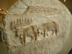 Grabstein mit Kühen