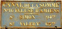 Plaque de l'écluse N°16- Amiens-Ph: D. Lemaire