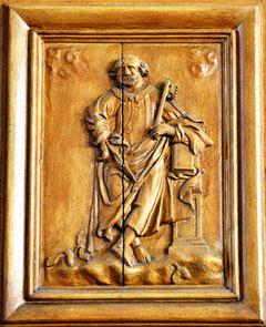 Panneau sculpté de la chaire: saint Pierre