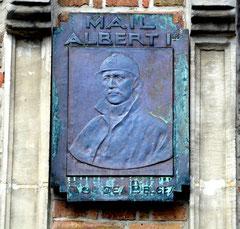 Plaque de cuivre avec le portrait d'Albert 1er, roi des Belges