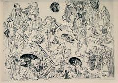 Max BECKMANN en su Resurrección incluye escenas  de moribundos hombres que se tambalean ante un titánico desnudo que parece frotarse los ojos observando el acontecimiento apocalíptico.