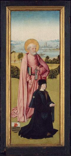 El donante Peter Van Os,ejercía la profesión de notario de Hertogenbosch,combinando la función de secretario municipal.Lleva en la capa insignia de la Cofradía y las armas de la familia Van Os,una cabeza d buey y una estrella.