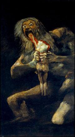 Francisco de Goya,Saturno devorando a un hijo,1819-23.Museo del Prado