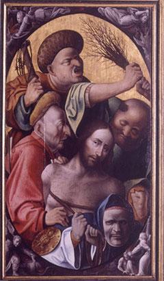 La Flagelación focaliza la atención en la cabeza de Cristo rodeado por sayones con rasgos caricaturescos.
