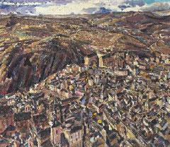 David Bomberg,Vista de Toledo, especie de vista imaginaria tomada desde un aeroplano, inspirada del Greco.Toledo se convirtió en lugar donde catalizó el diálogo de muchos artistas con su arte.