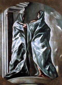 Del Greco procede la estilización de las figuras de esta Visitación de 1608-14.Óleo sobre lienzo, 95x71cm,Washington.