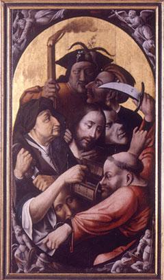 El panel del Prendimiento y Flagelación son de roble en disposición vertical,cuya composición se vertebra en altura,destaca la figura de Pedro sacando el puñal contra Malco, quien muerde con rabia la vestidura de Pedro.