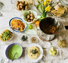 Frankfurter Grüne Soße, Mungobohnen-Eintopf, Grünkern-Aufstrich, Sauerkraut-Salat im März '18