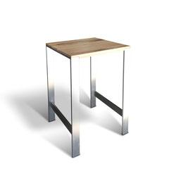 Professioneller Stehtisch aus gebürstetem Edelstahl mit Eiche Tischplatte nach Maß