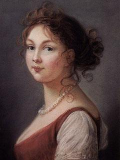 プロイセン王妃ルイーゼ、白真珠のネックレスと赤レンガ色のドレス姿   ヴィジェ・ルブラン夫人作(1801年)