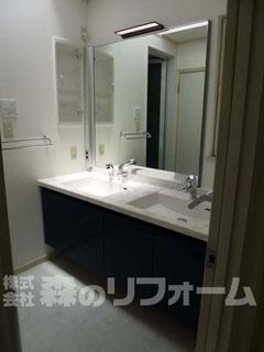 松戸市水まわり洗面所リフォーム 二連のスクエアボールの洗面化粧台