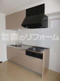 松戸市マンションリフォーム キッチンリフォーム クリナップのラクエラ取付 キッチンパネル取付