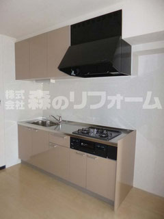 松戸市 まるごとマンションリフォーム キッチンリフォーム クリナップのラクエラ取付 キッチンパネル取付