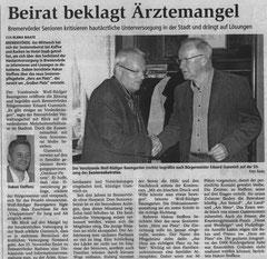 Hakon Steffens spricht vor Seniorenbeirat (BZ vom 29.10.2011)