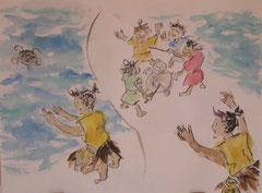 Kindererzährung, Uraschima Taro 36 x 48 cm