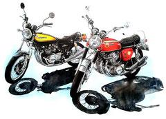 バイク好きの方へのプレゼントに人気!バイクイラスト絵