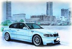 BMWと横浜みなとみらいのイラスト