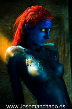 mystique body paint, body paint mistica, x-men mystique, body paint madrid, mystique cosplay, academia body paint