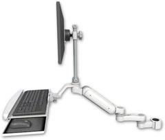 ポールマウント 支柱取付 ガススプリング内蔵 昇降式 ディスプレイキーボード用ワークステーションアーム :ASUL180EV7-P17-KUB-AS1