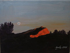 Ste Victoire full moon at sunset 24/19cm oil on canvas--SOLD