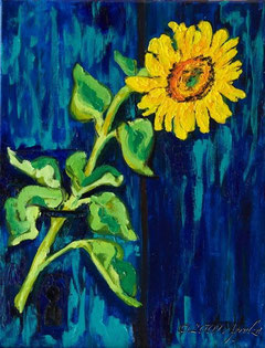 0024-sunflower & door, 35/27cm oil on canvas