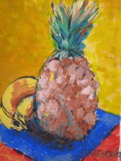 still life with pineapple, 35/27 gouache on canvas
