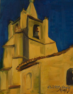 l'église à Bonnieux, 24/19cm oil on canvas--SOLD
