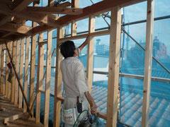 無垢の木でつくる 台東区 木造3階建て耐火建築物 窓台・まぐさ画像2