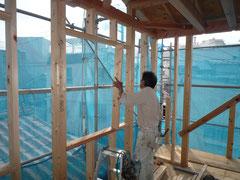 無垢の木でつくる 台東区 木造3階建て耐火建築物 窓台・まぐさ画像1