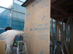 無垢の木でつくる 台東区 木造3階建て耐火建築物 耐力面材施工2