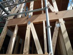 無垢の木でつくる 台東区 木造3階建て耐火建築物 構造金物取付け画像1
