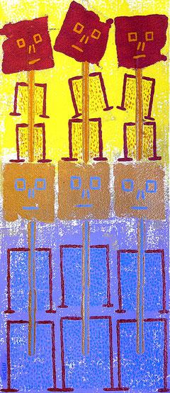 Gleichgewicht: Materialdruck auf Bütten, 39 x 24 cm