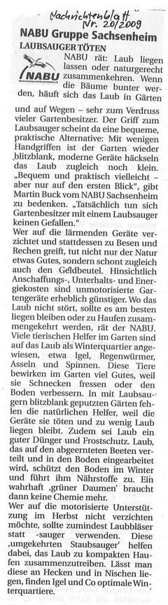 Nachrichtenblatt Nr. 20/2009 über Laubsauger