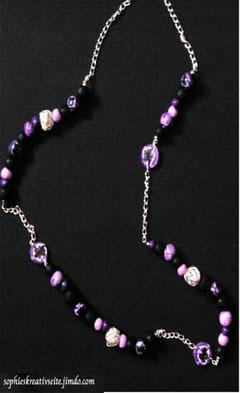 Kette lila pink mit Silberbällen