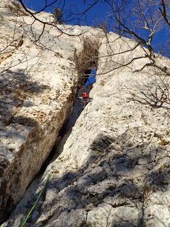 Alpines Klettern zum Drachenloch (4c).