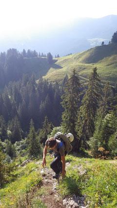 Steiler Aufstieg zum Oberbergpass.