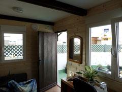 Dachhütte, Blick von drinnen auf die Dachterrasse