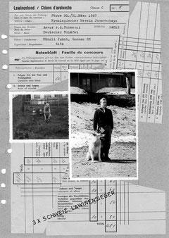 Notenblatt LawH-Prüfung Stoos 30./31.03.1957
