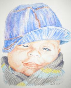 portrait au pastel de Sacha, à 6 mois